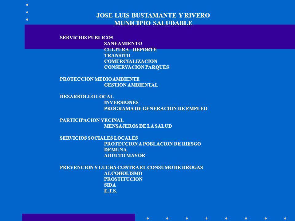 JOSE LUIS BUSTAMANTE Y RIVERO MUNICIPIO SALUDABLE SERVICIOS PUBLICOS SANEAMIENTO CULTURA – DEPORTE TRANSITO COMERCIALIZACION CONSERVACION PARQUES PROT