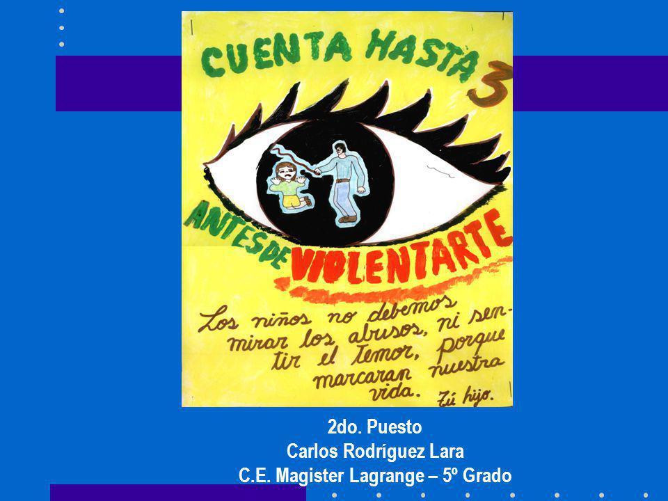 2do. Puesto Carlos Rodríguez Lara C.E. Magister Lagrange – 5º Grado