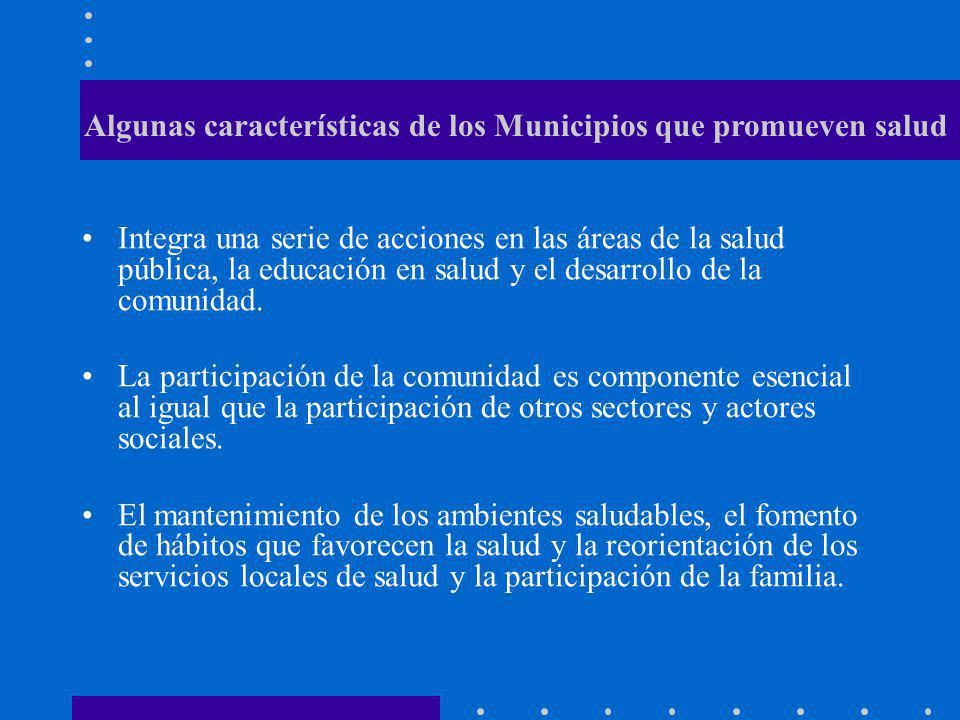 Cualidades que en un Municipio Saludable debe buscarse UN MEDIO AMBIENTE FISICO DE CALIDAD, LIMPIO Y SEGURO UNA COMUNIDAD PARTICIPATIVA, FUERTE Y SOLIDARIA LA COBERTURA DE LAS NECESIDADES BASICAS RELACION Y COMUNICACIOÓN INTERSECTORIAL UNA ECONOMIA VARIADA Y DINAMICA NEXOS CULTURALES, HISTORICOS Y BIOLOGICOS FUERTES SERVICIOS DE SALUD OPTIMOS Y ACCESIBLES BUEN ESTADO DE SALUD EN LA COMUNIDAD DECISION POLITICA POR BUSCAR SALUD Y BIENESTAR