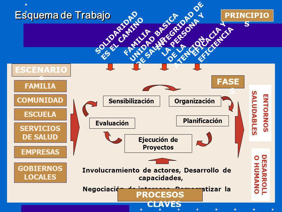 Esquema de Trabajo SOLIDARIDAD ES EL CAMINO FAMILIA UNIDAD BASICA DE SALUD INTEGRIDAD DE LA PERSONA Y DE LA ATENCION EFICACIA Y EFICIENCIA ESCENARIO S