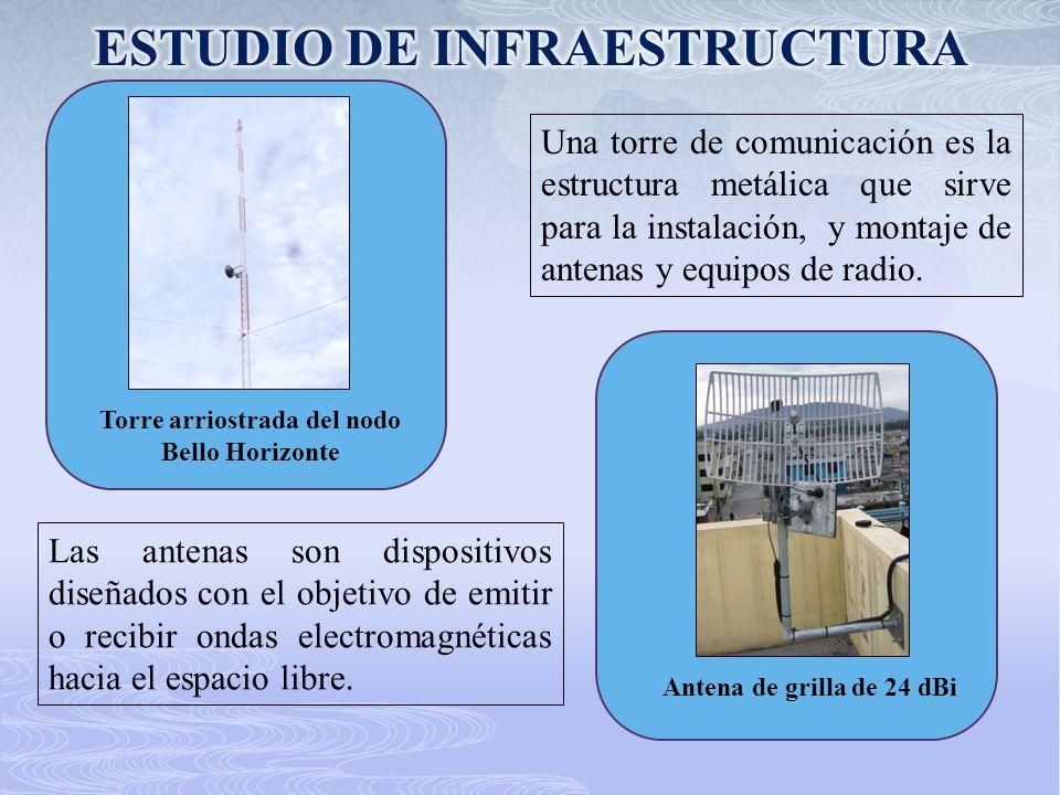 Torre arriostrada del nodo Bello Horizonte Una torre de comunicación es la estructura metálica que sirve para la instalación, y montaje de antenas y e
