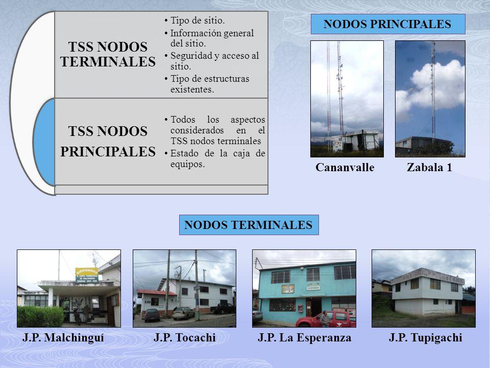 TSS NODOS TERMINALES TSS NODOS PRINCIPALES Tipo de sitio. Información general del sitio. Seguridad y acceso al sitio. Tipo de estructuras existentes.