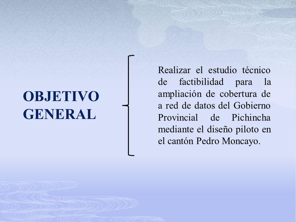 OBJETIVO GENERAL Realizar el estudio técnico de factibilidad para la ampliación de cobertura de a red de datos del Gobierno Provincial de Pichincha me