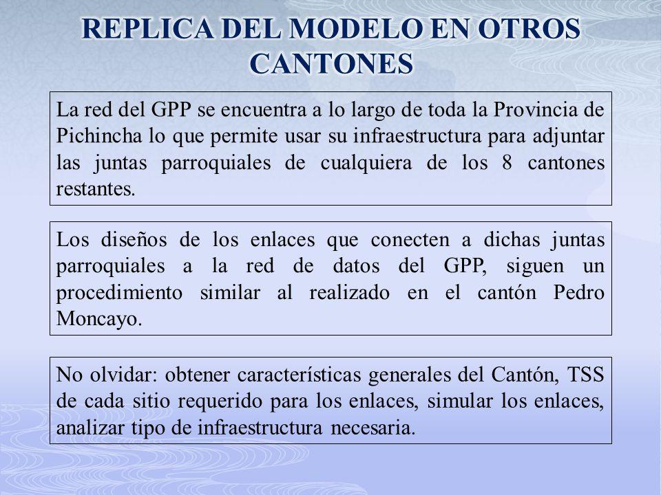 La red del GPP se encuentra a lo largo de toda la Provincia de Pichincha lo que permite usar su infraestructura para adjuntar las juntas parroquiales