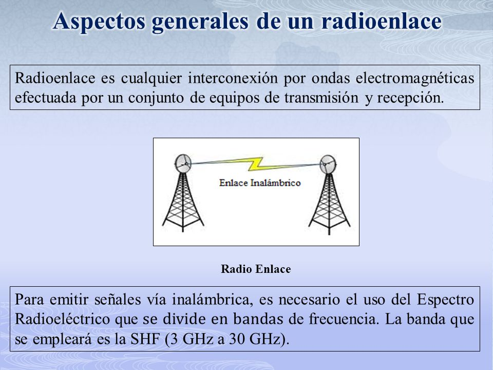Radioenlace es cualquier interconexión por ondas electromagnéticas efectuada por un conjunto de equipos de transmisión y recepción. Radio Enlace Para
