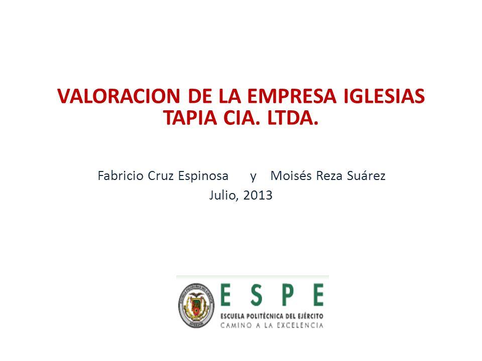 VALORACION DE LA EMPRESA IGLESIAS TAPIA CIA. LTDA. Fabricio Cruz Espinosa y Moisés Reza Suárez Julio, 2013