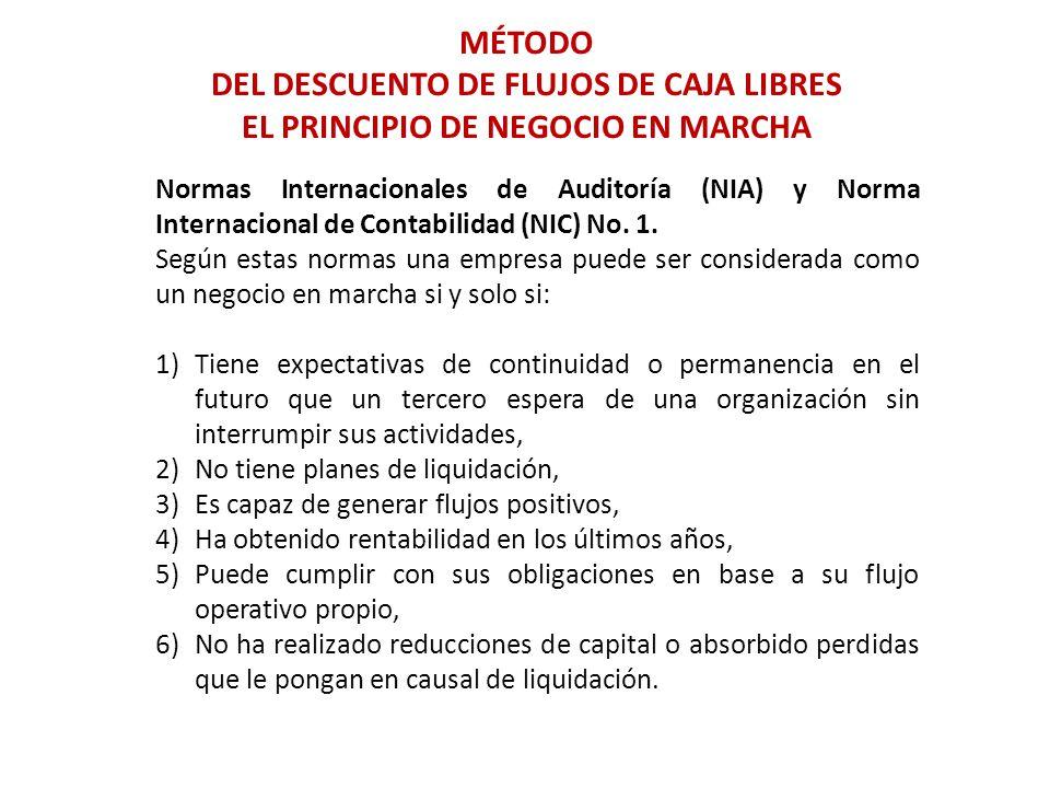 MÉTODO DEL DESCUENTO DE FLUJOS DE CAJA LIBRES EL PRINCIPIO DE NEGOCIO EN MARCHA Normas Internacionales de Auditoría (NIA) y Norma Internacional de Con