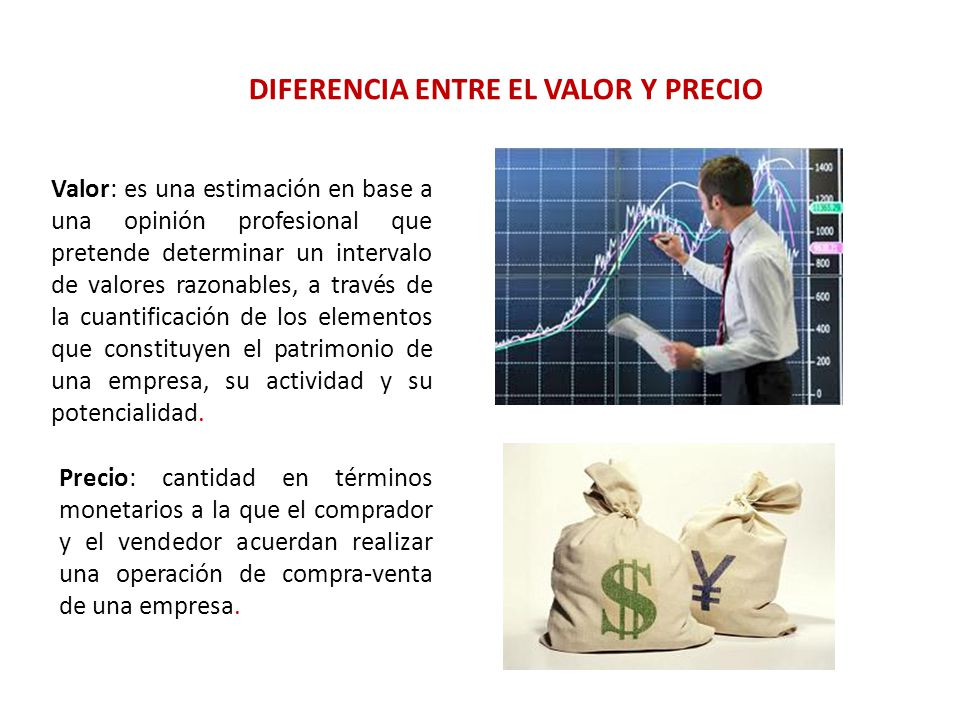 DIFERENCIA ENTRE EL VALOR Y PRECIO Precio: cantidad en términos monetarios a la que el comprador y el vendedor acuerdan realizar una operación de comp