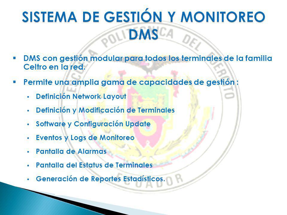 DMS con gestión modular para todos los terminales de la familia Celtro en la red. Permite una amplia gama de capacidades de gestión : Definición Netwo