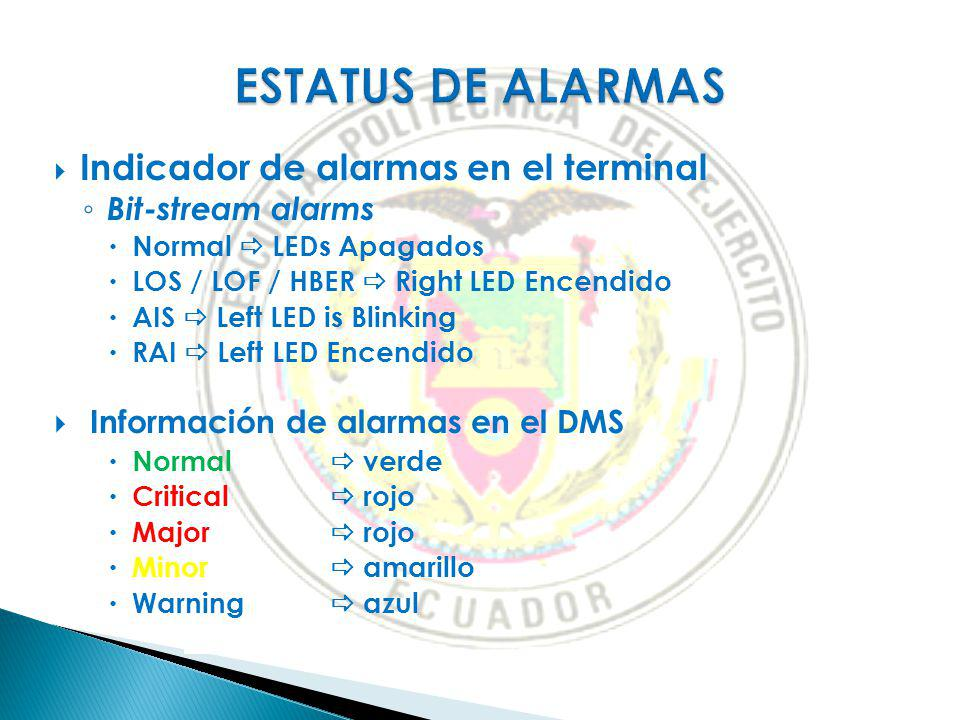 Indicador de alarmas en el terminal Bit-stream alarms Normal LEDs Apagados LOS / LOF / HBER Right LED Encendido AIS Left LED is Blinking RAI Left LED Encendido Información de alarmas en el DMS Normal verde Critical rojo Major rojo Minor amarillo Warning azul