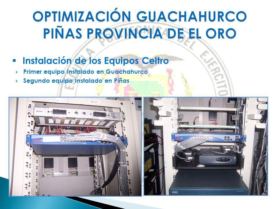 Instalación de los Equipos Celtro Primer equipo Instalado en Guachahurco Segundo equipo Instalado en Piñas