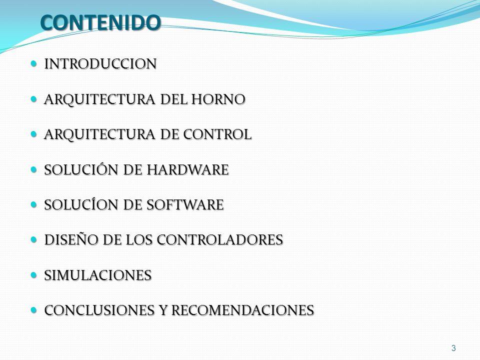CONTENIDO INTRODUCCION INTRODUCCION ARQUITECTURA DEL HORNO ARQUITECTURA DEL HORNO ARQUITECTURA DE CONTROL ARQUITECTURA DE CONTROL SOLUCIÓN DE HARDWARE