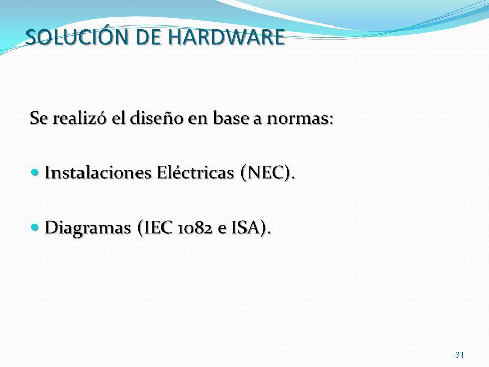Se realizó el diseño en base a normas: Instalaciones Eléctricas (NEC). Instalaciones Eléctricas (NEC). Diagramas (IEC 1082 e ISA). Diagramas (IEC 1082