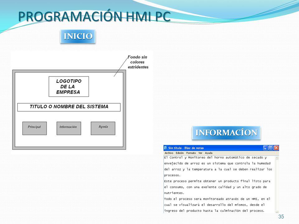 PROGRAMACIÓN HMI PC 35 INFORMACÍONINFORMACÍON INICIOINICIO