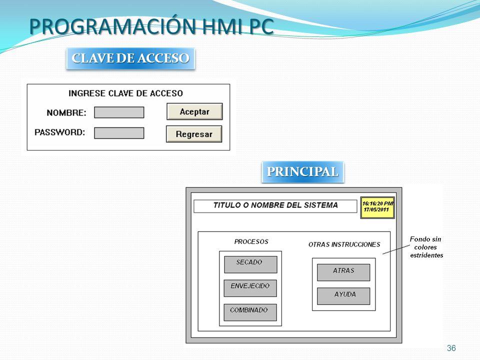 PROGRAMACIÓN HMI PC 36 PRINCIPALPRINCIPAL CLAVE DE ACCESO