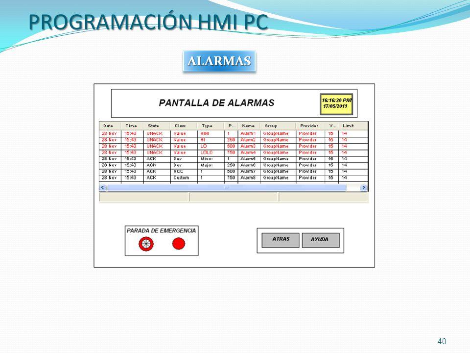 PROGRAMACIÓN HMI PC 40 ALARMASALARMAS