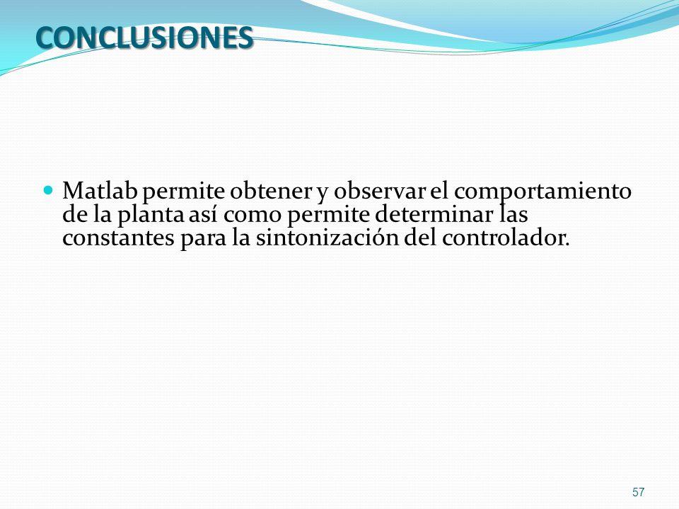 CONCLUSIONES Matlab permite obtener y observar el comportamiento de la planta así como permite determinar las constantes para la sintonización del con