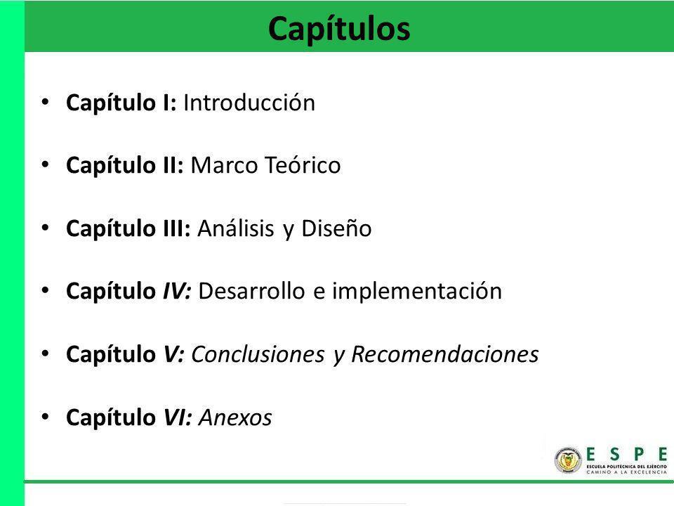 Capítulos Capítulo I: Introducción Capítulo II: Marco Teórico Capítulo III: Análisis y Diseño Capítulo IV: Desarrollo e implementación Capítulo V: Con