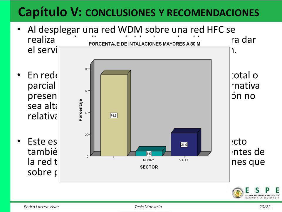 Capítulo V: CONCLUSIONES Y RECOMENDACIONES Al desplegar una red WDM sobre una red HFC se realiza un despliegue rápido de un backbone para dar el servi