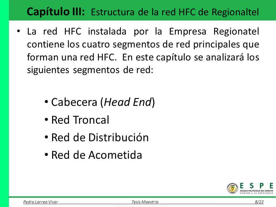 Capítulo III: Estructura de la red HFC de Regionaltel La red HFC instalada por la Empresa Regionatel contiene los cuatro segmentos de red principales