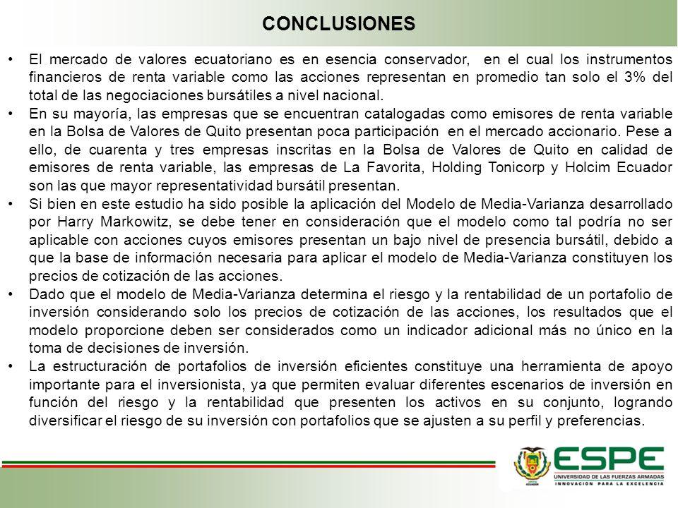 CONCLUSIONES El mercado de valores ecuatoriano es en esencia conservador, en el cual los instrumentos financieros de renta variable como las acciones