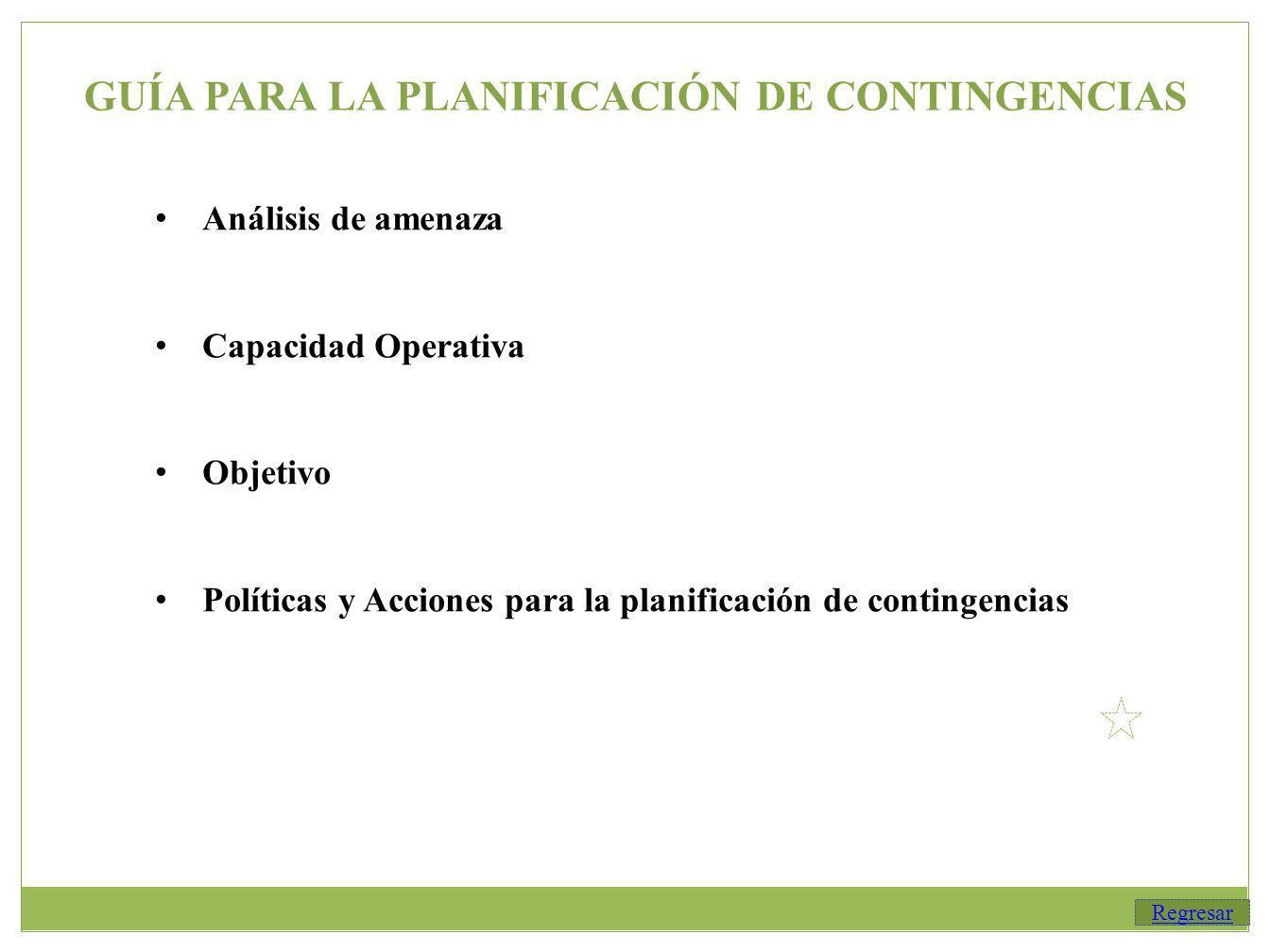 GUÍA PARA LA PLANIFICACIÓN DE CONTINGENCIAS Análisis de amenaza Capacidad Operativa Objetivo Políticas y Acciones para la planificación de contingencias Regresar