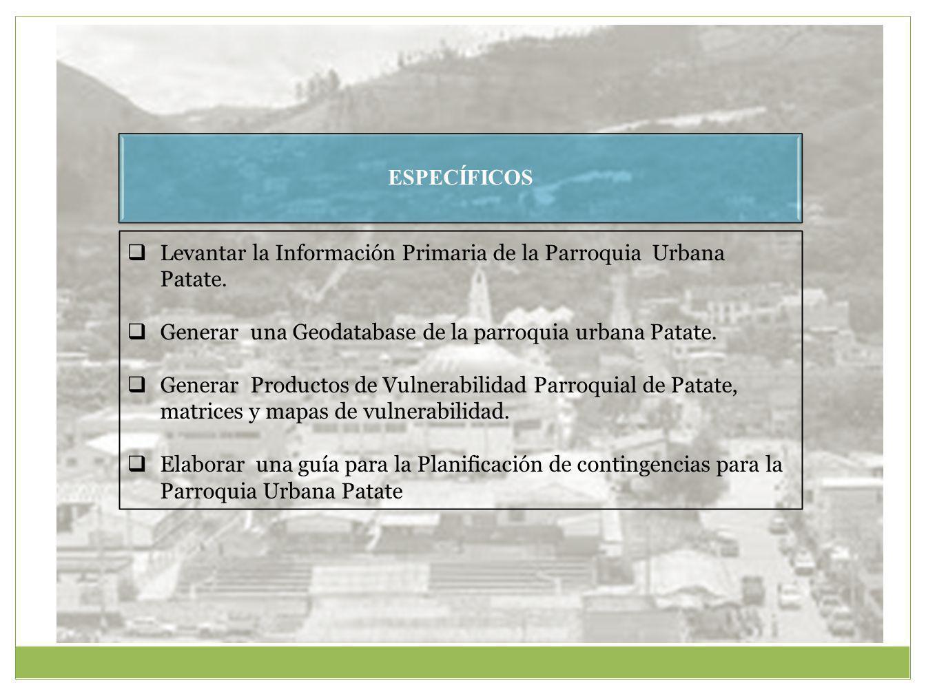 ESPECÍFICOS Levantar la Información Primaria de la Parroquia Urbana Patate.