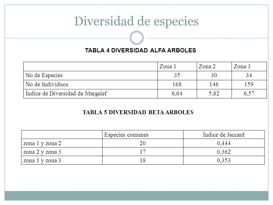 Diversidad de especies Zona 1Zona 2Zona 3 No de Especies353034 No de Individuos168146159 Índice de Diversidad de Margalef6,645,826,57 TABLA 4 DIVERSID