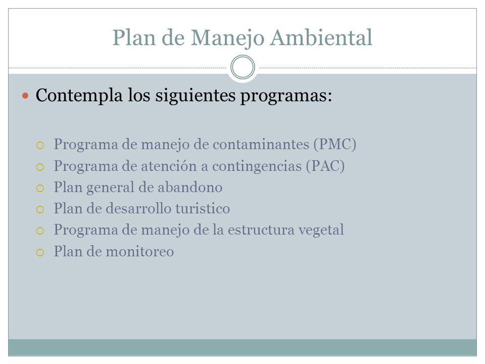 Plan de Manejo Ambiental Contempla los siguientes programas: Programa de manejo de contaminantes (PMC) Programa de atención a contingencias (PAC) Plan