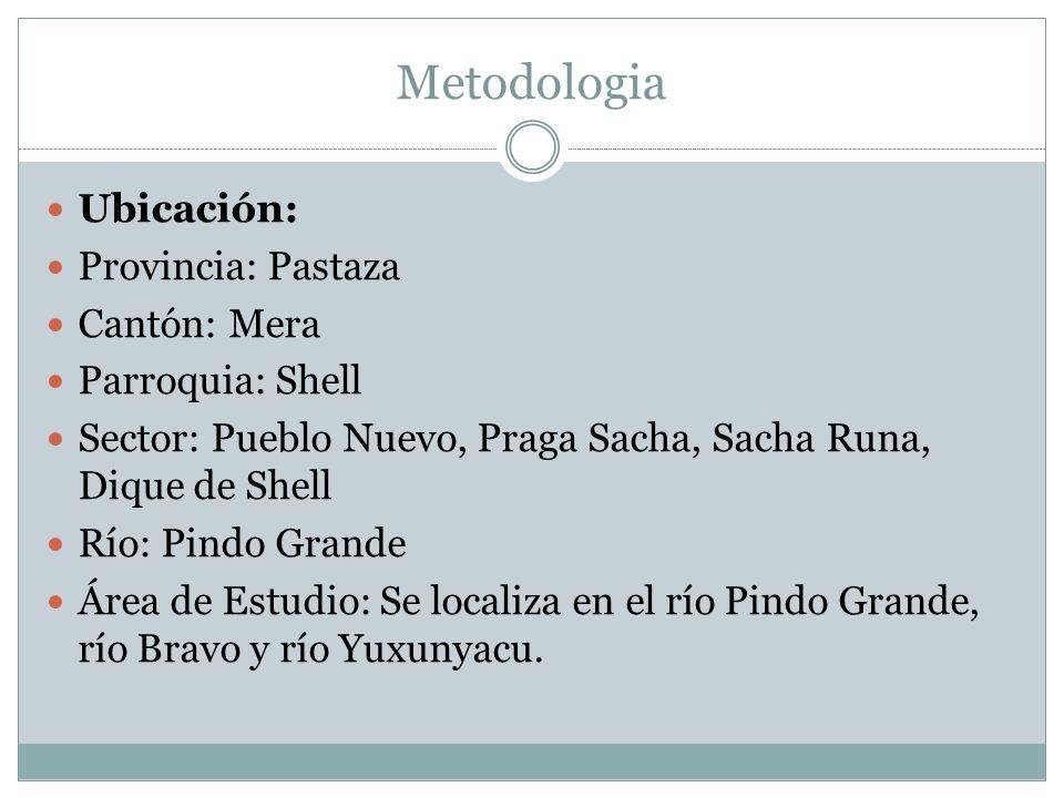 Metodologia Ubicación: Provincia: Pastaza Cantón: Mera Parroquia: Shell Sector: Pueblo Nuevo, Praga Sacha, Sacha Runa, Dique de Shell Río: Pindo Grand