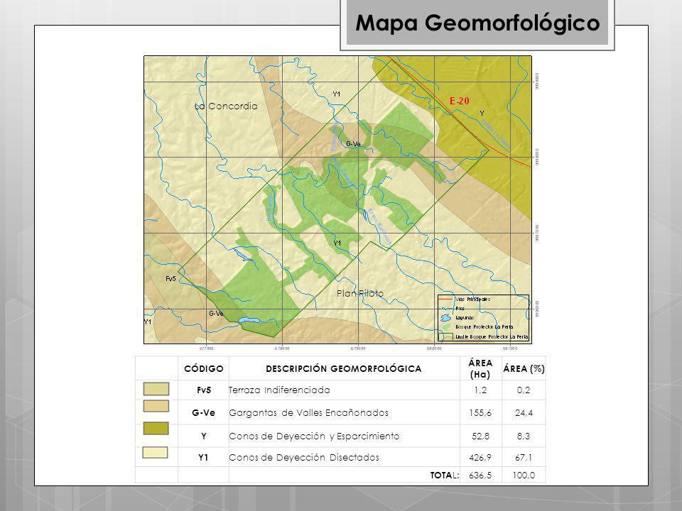 Mapa Geomorfológico CÓDIGODESCRIPCIÓN GEOMORFOLÓGICA ÁREA (Ha) ÁREA (%) Fv5 Terraza Indiferenciada1,20,2 G-Ve Gargantas de Valles Encañonados155,624,4 Y Conos de Deyección y Esparcimiento52,88,3 Y1 Conos de Deyección Disectados426,967,1 TOTA L: 636,5100,0 La Concordia Plan Piloto