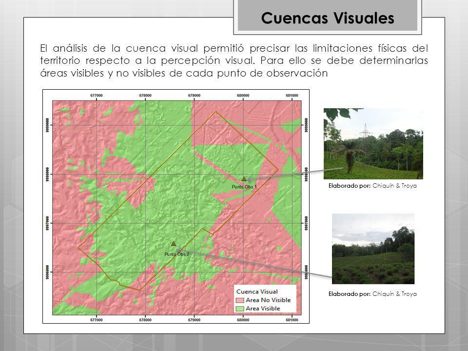 Cuencas Visuales El análisis de la cuenca visual permitió precisar las limitaciones físicas del territorio respecto a la percepción visual.