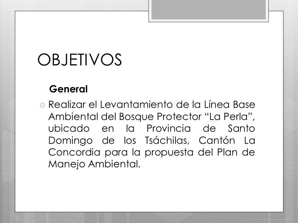 OBJETIVOS General Realizar el Levantamiento de la Línea Base Ambiental del Bosque Protector La Perla, ubicado en la Provincia de Santo Domingo de los Tsáchilas, Cantón La Concordia para la propuesta del Plan de Manejo Ambiental.