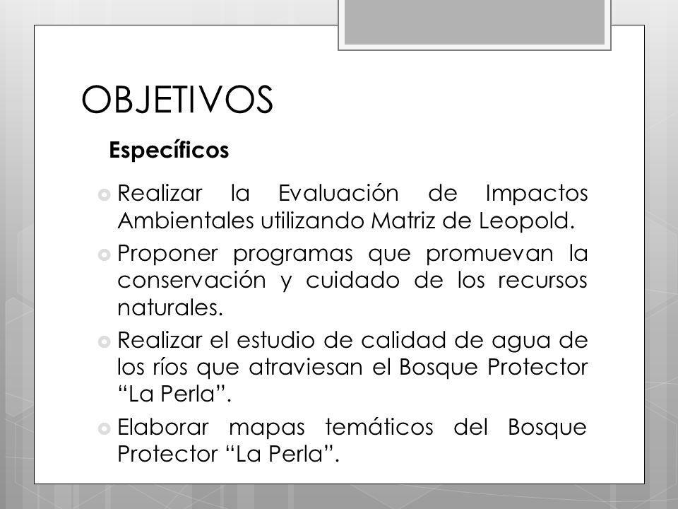 OBJETIVOS Específicos Realizar la Evaluación de Impactos Ambientales utilizando Matriz de Leopold.