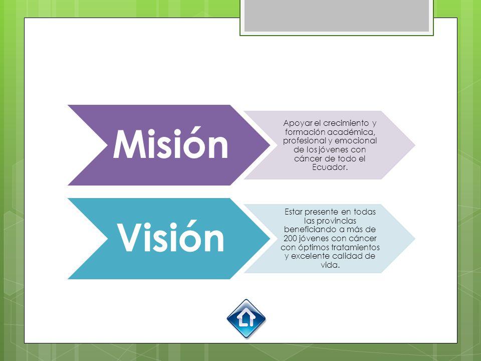 Misión Apoyar el crecimiento y formación académica, profesional y emocional de los jóvenes con cáncer de todo el Ecuador.
