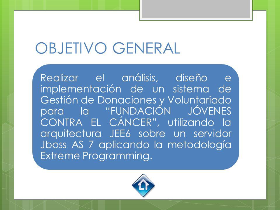 OBJETIVO GENERAL Realizar el análisis, diseño e implementación de un sistema de Gestión de Donaciones y Voluntariado para la FUNDACIÓN JÓVENES CONTRA EL CÁNCER, utilizando la arquitectura JEE6 sobre un servidor Jboss AS 7 aplicando la metodología Extreme Programming.