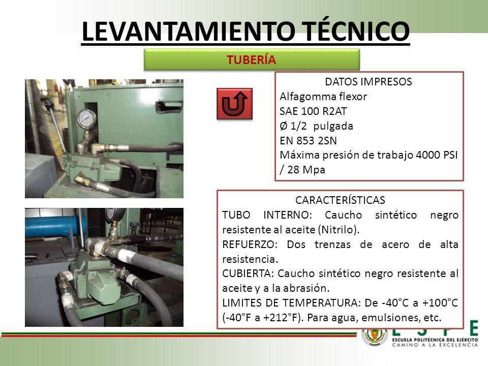 LEVANTAMIENTO TÉCNICO TUBERÍA DATOS IMPRESOS Alfagomma flexor SAE 100 R2AT Ø 1/2 pulgada EN 853 2SN Máxima presión de trabajo 4000 PSI / 28 Mpa CARACT