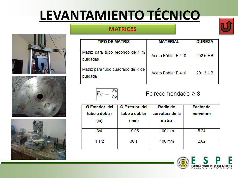 LEVANTAMIENTO TÉCNICO MATRICES Fc recomendado 3