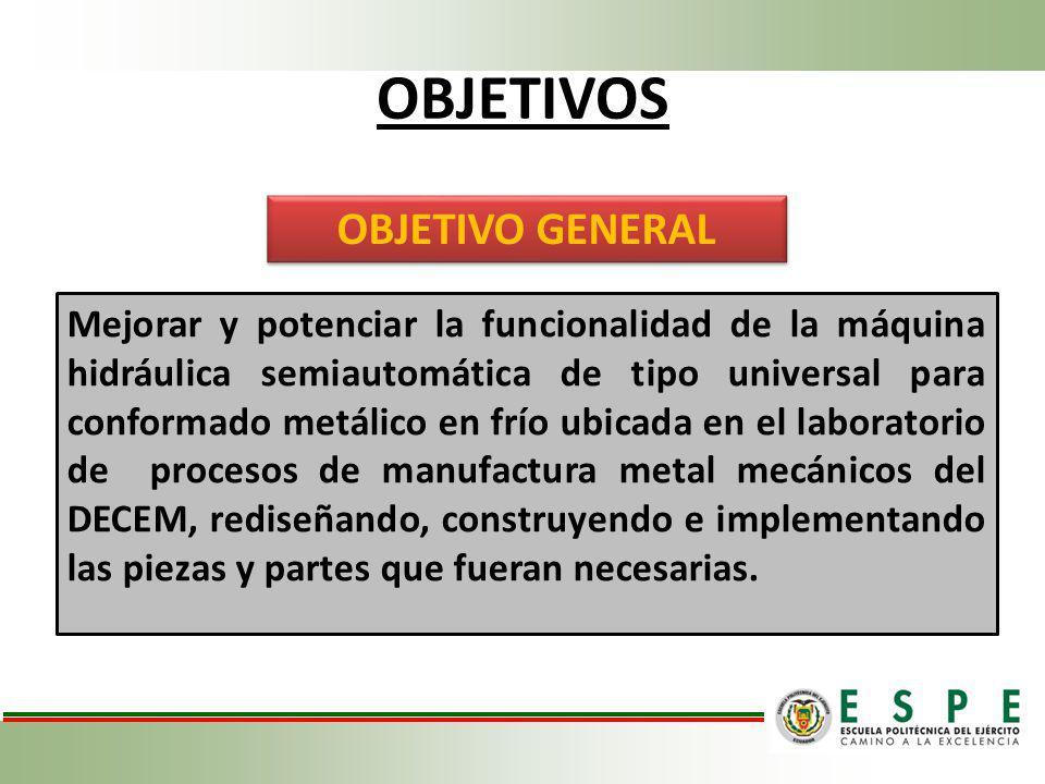 OBJETIVOS Mejorar y potenciar la funcionalidad de la máquina hidráulica semiautomática de tipo universal para conformado metálico en frío ubicada en e