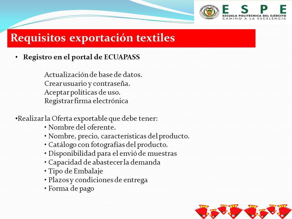 Requisitos exportación textiles Para la obtención del certificado digital y firma electrónica se debe realizar en dos entidades que son el Banco Central y Security Data.