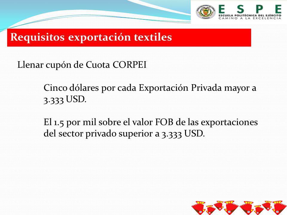 Requisitos exportación textiles Declaración de exportación Es un formulario Declaración Aduanera Única de Exportación en el que todas las exportaciones deben ser presentadas e ingresadas en el nuevo sistema ECUAPASS, Factura comercial original.