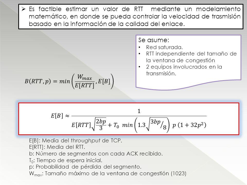 Es factible estimar un valor de RTT mediante un modelamiento matemático, en donde se pueda controlar la velocidad de trasmisión basado en la informaci