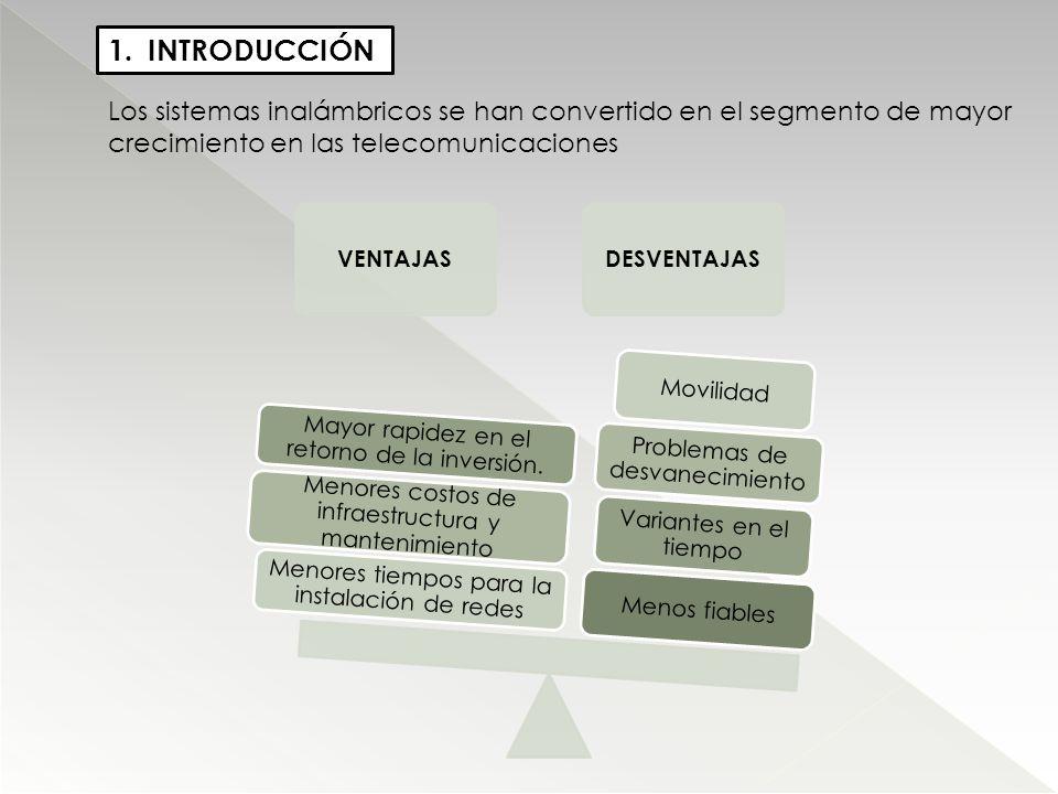 1.INTRODUCCIÓN Los sistemas inalámbricos se han convertido en el segmento de mayor crecimiento en las telecomunicaciones VENTAJASDESVENTAJAS Menos fia