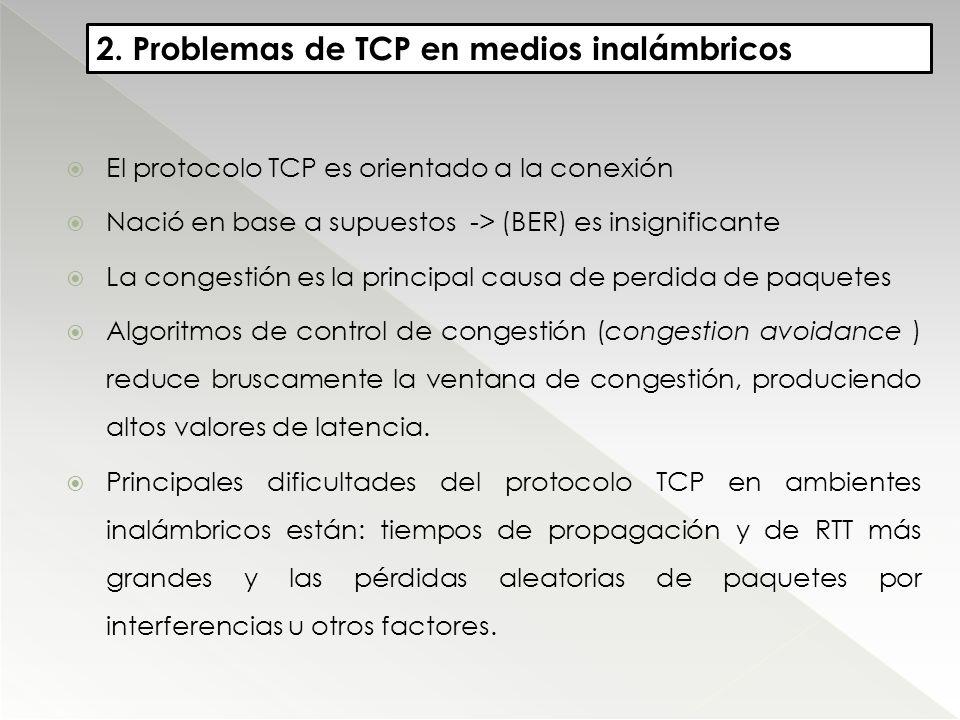 2. Problemas de TCP en medios inalámbricos El protocolo TCP es orientado a la conexión Nació en base a supuestos -> (BER) es insignificante La congest