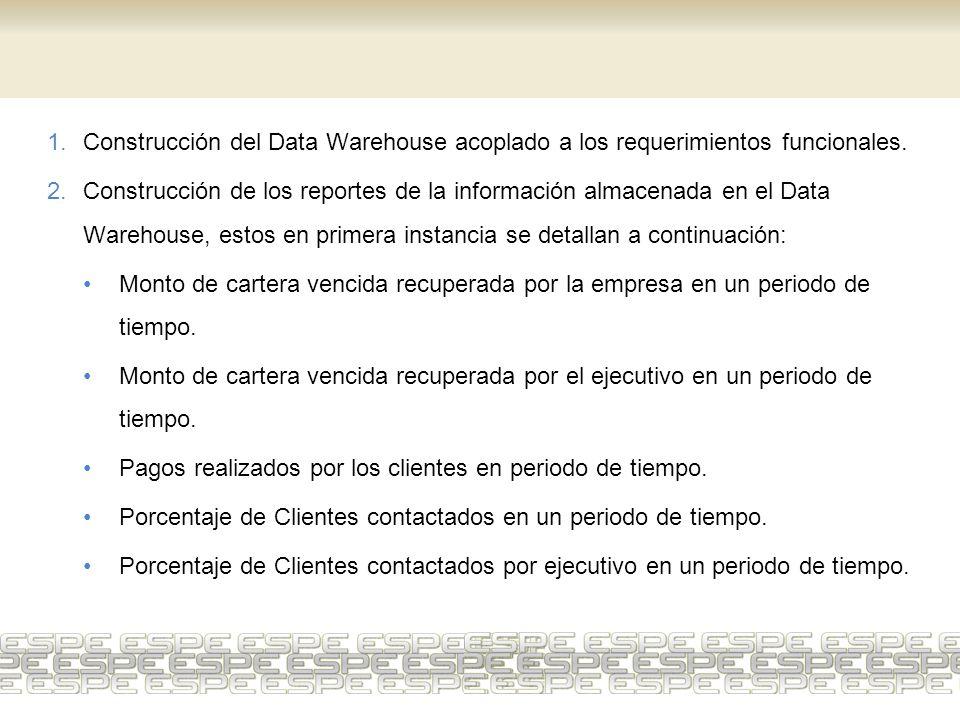 1.Construcción del Data Warehouse acoplado a los requerimientos funcionales. 2.Construcción de los reportes de la información almacenada en el Data Wa