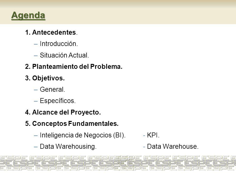 Agenda 1. Antecedentes. –Introducción. –Situación Actual. 2. Planteamiento del Problema. 3. Objetivos. –General. –Específicos. 4. Alcance del Proyecto