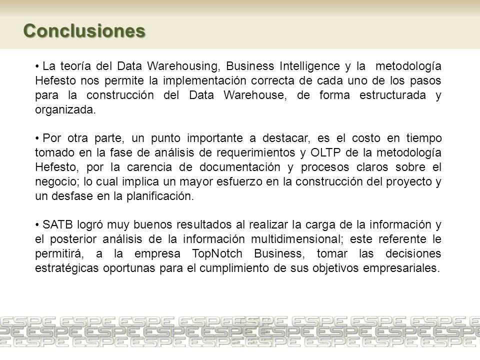 La teoría del Data Warehousing, Business Intelligence y la metodología Hefesto nos permite la implementación correcta de cada uno de los pasos para la