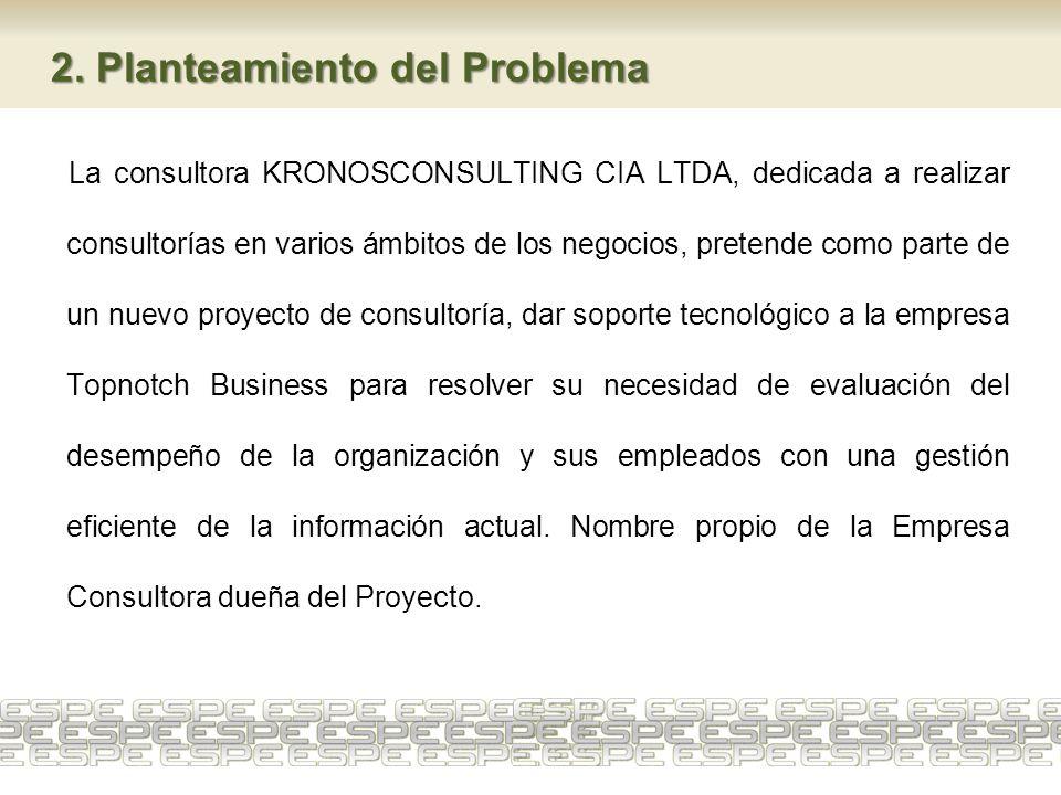 2. Planteamiento del Problema La consultora KRONOSCONSULTING CIA LTDA, dedicada a realizar consultorías en varios ámbitos de los negocios, pretende co