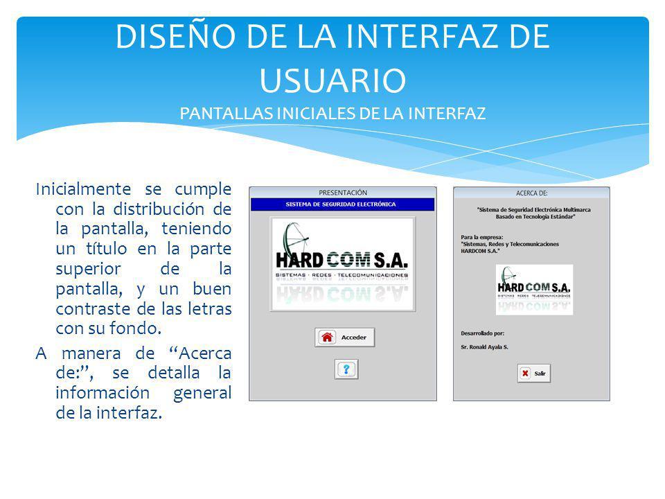 DISEÑO DE LA INTERFAZ DE USUARIO PANTALLAS INICIALES DE LA INTERFAZ Inicialmente se cumple con la distribución de la pantalla, teniendo un título en l