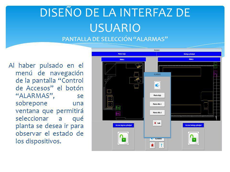 DISEÑO DE LA INTERFAZ DE USUARIO PANTALLA DE SELECCIÓN ALARMAS Al haber pulsado en el menú de navegación de la pantalla Control de Accesos el botón AL